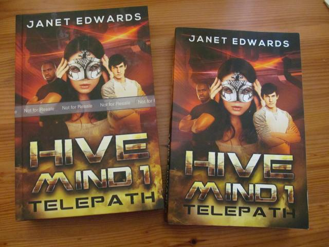 Photo of my proof copy of the hardcover together with the paperback of Telepath.